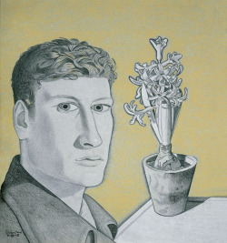 Lucian Freud, Self-Portrait with Hyacinth in Pot, 1947-1948, crayon in paper, 44.7 x 41.5cm.