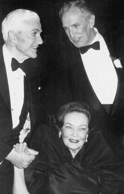 smallnartless:  Dana Andrews, Gene Tierney and Vincent Price at a function honoring Laura (1944) in 1984.