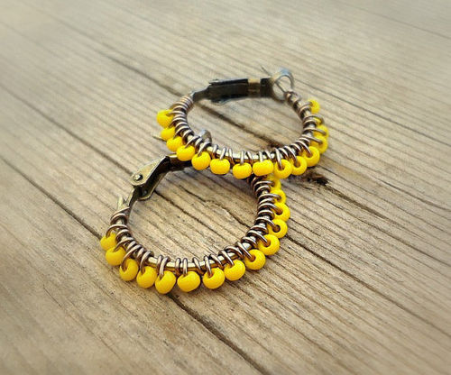 Beaded Earrings Yellow Wire Wrapped Copper Hoops by BohemiaJewelry on We Heart It. http://weheartit.com/entry/28540139