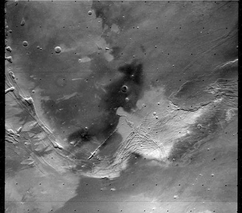 "walking into spiderwebs: Surface of Mars, photographed by Viking 1 Orbiter, 14th October 1979. Note reads: ""SOUTHERN HEMISPHERE MONITORING"". [f204s58]. Image credit: NASA."