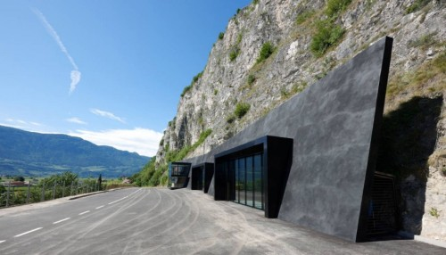 Bergmeister Wolf, a northern Italian firm with offices in Austria and Italy, were hired by the small Tyrolean town of Margreid to build a new volunteer fire station back in 2010. The commission came with an unusual site: a 300-foot cliff of sheer rock. A Fire Station Carved Into The Side Of A Mountain via http://www.fastcodesign.com