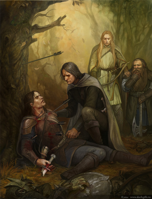 "gustavomalek:  The Death of Boromir, by Julia Alekseeva  A mile, maybe, from Parth Galen in a little glade not far from the lake he found Boromir. He was sitting with his back to a great tree, as if he was resting. But Aragorn saw that he was pierced with many black-feathered arrows; his sword was still in his hand, but it was broken near the hilt; his horn cloven in two was at his side. Many Orcs lay slain, piled all about him and at his feet. Aragorn knelt beside him. Boromir opened his eyes and strove to speak. At last slow words came. 'I tried to take the Ring from Frodo ' he said. 'I am sorry. I have paid.' His glance strayed to his fallen enemies; twenty at least lay there. 'They have gone: the Halflings: the Orcs have taken them. I think they are not dead. Orcs bound them.' He paused and his eyes closed wearily. After a moment he spoke again. 'Farewell, Aragorn! Go to Minas Tirith and save my people! I have failed.' 'No!' said Aragorn, taking his hand and kissing his brow. 'You have conquered. Few have gained such a victory. Be at peace! Minas Tirith shall not fall!' Boromir smiled. 'Which way did they go? Was Frodo there?' said Aragorn. But Boromir did not speak again. 'Alas!' said Aragorn. 'Thus passes the heir of Denethor, Lord of the Tower of Guard! This is a bitter end. Now the Company is all in ruin. It is I that have failed. Vain was Gandalf's trust in me. What shall I do now? Boromir has laid it on me to go to Minas Tirith, and my heart desires it; but where are the Ring and the Bearer? How shall I find them and save the Quest from disaster?' He knelt for a while, bent with weeping, still clasping Boromir's hand. So it was that Legolas and Gimli found him.  Source: The Lord of the Rings, Book III, Chapter 1, ""The Departure of Boromir"""