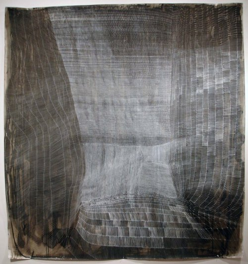 shinyslingback:  Sam Messenger GETHESEMANE'S VEIL, 2009Pen and white ink, inkwash, and poured ink, vinegar, salt water on paper