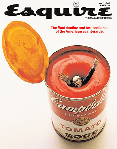 millionsmillions:  The history behind the iconic Esquire cover that depicts Andy Warhol trapped in a swirling vortex of tomato soup. Before photoshop! I have a reproduction of this particular cover hanging in my kitchen, and I have to tell you that I can't bear to eat canned Tomato soup at all anymore.