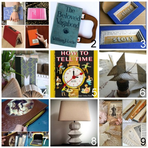 "truebluemeandyou:  Roundup of DIY Book Crafts. Feeling guilty about destroying a book? Read what happens to them if you don't rescue and reuse them here (by my mom who runs one of the largest used book sales for the League of Women Voters). DIY Roundup of Book Clutch Tutorials (Thanks, I Made It) here.  DIY Recycled Book into a Sketch Book (Cosmo Cricket) here. DIY Recycled Altered Book with a Message Tutorial. ""Your Life is a Story Make it Good"" (Cosmo Cricket) here. DIY Altered Book Monogram (Ashbee Designs) here. Two Tutorials: DIY Children's Book Clock (Instructables, Country Living) here. via  rainbowsandunicornscrafts DIY Book Page Origami Butterfly (Todolwen) here. DIY Netbook Book Using a Dollar Store XL Zipper (mikeasaurus at Instructables) here. DIY: The Literary Lamp (project by Tess Wolfe-Stelzer who won the grand prize for the ReadyMade 100 contest) here. Vintage Books, How to Alter and Price Them - An Insider's Tips (The Polka Dot Closet) here. *You may not like this style - but lots of advice."