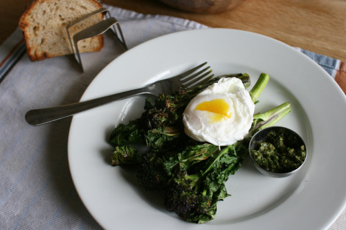 f-word:  poached egg with roasted purple sprouting broccoli, pesto, and toast photo by monica.shaw