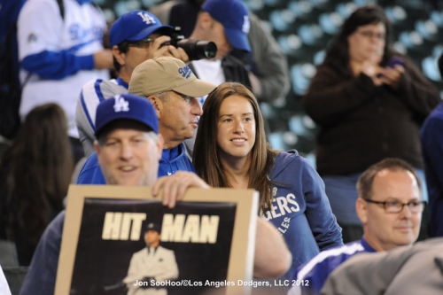 My dad and I, taken by Dodger photographer @JonSooHoo.