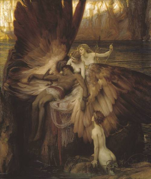 fckyeaharthistory:  Herbert Draper - The Lament for Icarus, 1898. Oil on canvas