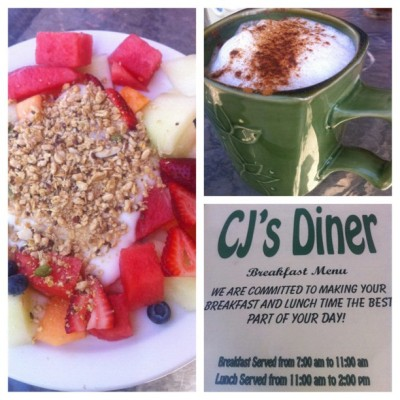 So happy #family #palmdesert #breakfast #cappuccino #fruit #yogurt #granola #california  (Taken with Instagram)