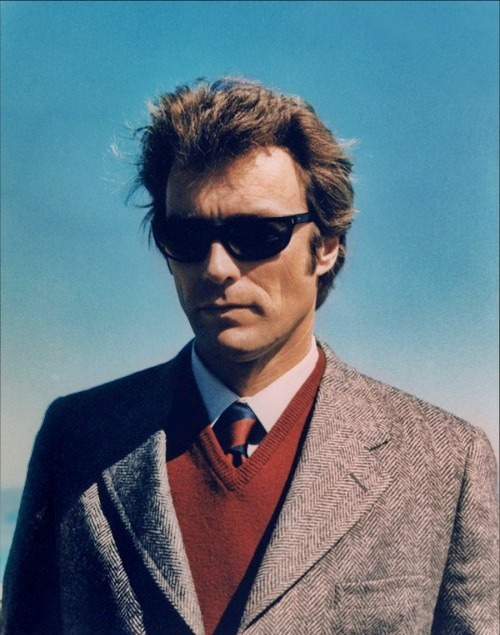 "Clint Eastwood on the set of ""Dirty Harry,"" 1971."