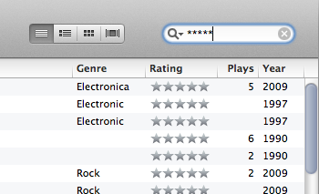 littlebigdetails:  iTunes - Lets you filter song rating by typing asterisk symbols in search bar /via Ivan