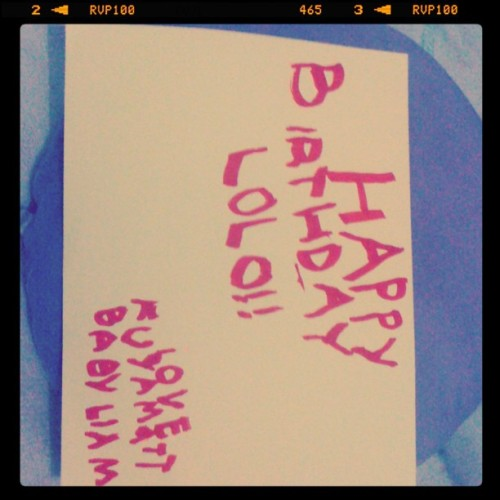 My 5 yr old nephew, Matt, made this for his lolo's bday tom. Cute :3 (Taken with Instagram)