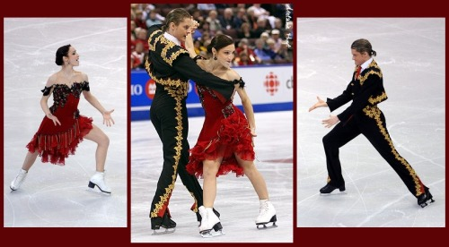Meryl Davis and Charlie White skating the Paso Doble compulsory dance at the 2008 Skate Canada and 2009 World Championships. Sources: http://www.zimbio.com/pictures/yee25qYzwiy/ISU+World+Figure+Skating+Championships+Day/nfwoT3oj-Xa http://photography.ice-dance.com/2008-2009-season/2008SkateCanada/Dance/CD/Hoyt-2008-1031-2870.jpg.php