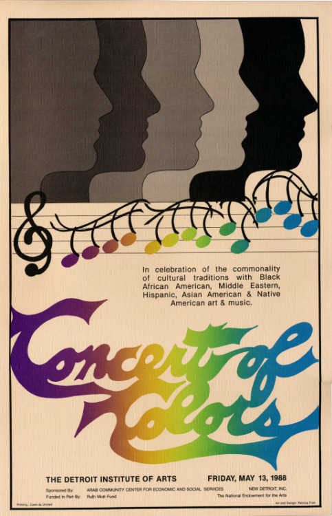 Concert of Colors poster from 1988. Check out more on the AANM Archive's Flickr account. The Concert of Colors is metro Detroit's free annual diversity music festival. This year it's being held held July 12 -15 in Midtown. More info at ConcertOfColors.com