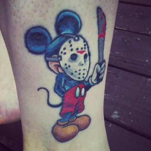 fuckyeahtattoos:  Love Mickey, love Halloween and horror related anything. Birthday is also on the 13th.  Done on 4/13/12 at Olde Media Tattoo, by Shane Munce. :D