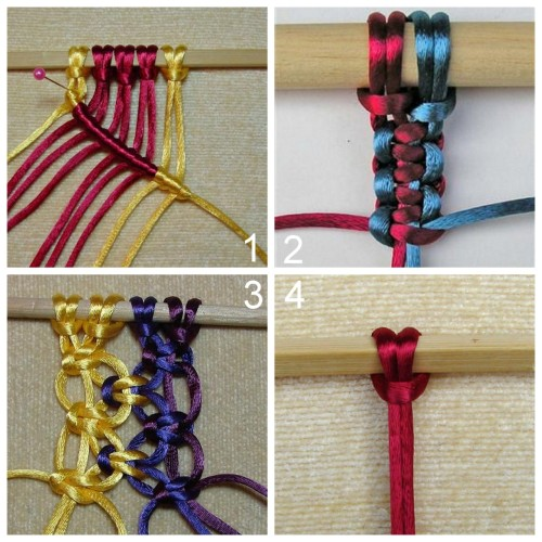 DIY Tutorial for Twelve Basic Macrame Knots for Necklaces, Bracelets, etc… Really clear instructions from Stonebrash Creative Arts here. Diagonal Double Half Hitch Knot Two Ways to Tie a Square Knot Alternating Square Knot Larks Head Knot (which is used in lots of jewelry tutorials I post)