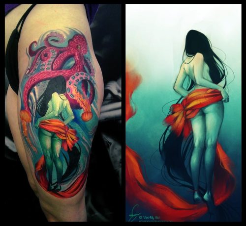 fuckyeahtattoos:  { See the original piece here. } On 12 February, 2012, I received an email from Heather S. She told me that she's been a big fan of my artwork for quite some time and has been particularly fond of my 'Swishy Naked Lady' piece. So, after two years of careful deliberation, she decided to get it tattooed on her thigh. She had it inked by Jose Sanchez at Outsiders Ink in Tulsa, Oklahoma. It was done in one sitting, and took 20 hours. Man. There is no greater honour than knowing someone is willing to permanently engrave my artwork onto their body.  How fucking ridiculous is this?!?! Jose, you did a fucking brilliant job at rendering my piece.  I salute you.