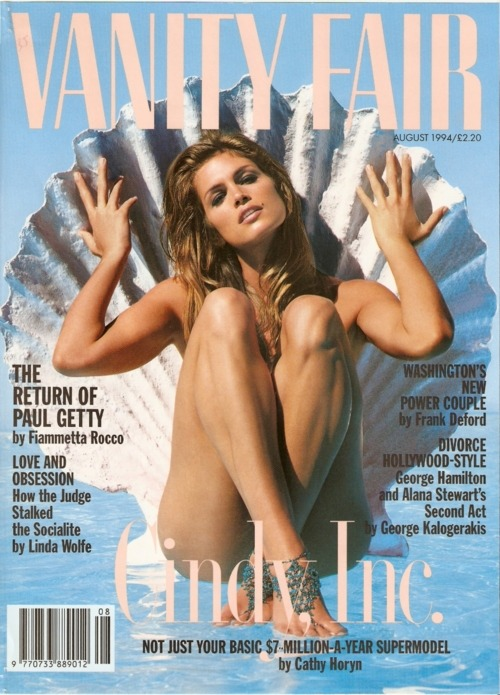 90s models > nowadays models. Cindy Crawford's cover for Vanity Fair UK, August 1994, photographed by ???