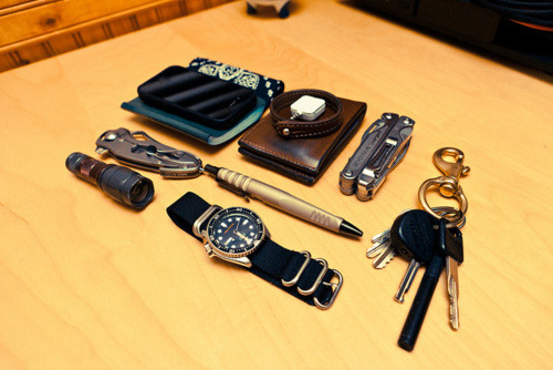 EDC By: harpoonduck  Apple iPhone 4s - Purchase on Amazon with magpul exec case - Purchase on Amazon Rite in the Rain Memo Book - Purchase on Amazon Iron Heart IHG-08 Bandana Hollows Leather Chromexcel Leather Bifold Wallet Hollows Leather Natural Leather Stitched Bracelet Square Card Reader - Purchase on Amazon Leatherman Charge TTi - Purchase on Amazon Key Chain w/ Trekker Space Pen & U-Lock Key Light Surefire EW-04 Delta Knife - Purchase on Amazon Surefire EWP-03 Pen - Purchase on Amazon Surefire Winelight Seiko SKX007K - Purchase on Amazon