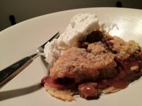 If there's a tastier summer dessert than strawberry rhubarb pie, I've never encountered it! Try this recipe for Strawberry-Rhubarb Pie with Ginger Crumb Topping, before strawberry season finishes wherever you are! Here's the details, from Leite's Culinaria!  Active time: 30 minutes | Total time: 3 hours (includes chilling) Strawberry Rhubarb Pie with Ginger Crumb Topping Recipe  Ingredients | metric conversion  For the crust 1 cup (4 1/2 ounces) all-purpose flour, plus more for the surface 7 tablespoons (3 1/2 ounces) cold unsalted butter, cut into 1/2-inch cubes 1/2 teaspoon sugar 1/4 teaspoon kosher salt 2 tablespoons ice-cold water, more as needed 1 1/2 teaspoons cider vinegar For the filling 2 1/2 cups (4 to 5 large stalks) rhubarb, sliced on the diagonal 1/4-inch thick 2 1/2 cups hulled and halved strawberries (if the berries are quite large, quarter them) 2/3 cup packed light or dark brown sugar 1/3 cup all-purpose flour 1 teaspoon ground cinnamon For the crumb topping 2/3 cup (3 ounces) all-purpose flour 5 tablespoons (2 1/2 ounces) unsalted butter, cold, cut into 1/2-inch pieces 1/2 cup granulated sugar 3 tablespoons packed dark or light brown sugar 3/4 teaspoon ground ginger 1/8 teaspoon kosher salt    Make the crust 1. Place the flour, butter, sugar, and salt in the bowl of a stand mixer and place in the freezer for 20 minutes. 2. Fit the stand mixer with the paddle attachment and mix the chilled ingredients on low speed until the mixture resembles coarse meal, about 2 minutes. Combine the ice water and vinegar in a small measuring cup. With the mixer running, slowly add the vinegar mixture to the flour mixture, adding just enough for the mixture to come together into shaggy clumps. (If you've added all the liquid and the dough is still not holding together, add enough cold water, 1 teaspoon at a time, until it does cling together.) Be careful not to overmix the dough, or it will become tough. 3. Turn the dough out onto a large piece of plastic wrap, shape it into a 5-inch disk, and wrap it in plastic. Refrigerate for at least 30 minutes or up to a few days. (If the dough has been in the fridge overnight or longer, let it come to room temperature for 30 minutes prior to rolling, as it needs to have a bit of give. If it has been refrigerated for only a couple of hours, you can roll it out immediately.) 4. On a lightly floured surface, roll the dough into a 12 1/2-inch circle about 1/8 inch thick. Transfer it to a 9-inch pie dish, preferably deep-dish, by either folding the dough into quarters and unfolding it in the dish or rolling the dough around a rolling pin and unrolling it into the dish. Tuck the excess dough under the edges to create a double thickness and a smooth edge. Then pinch the dough every 2-inches to form a decorative border. Refrigerate while you prepare the filling and crumb topping. Make the filling 5. Preheat the oven to 350°F (176°C) and position a rack in the center of the oven. 6. In a medium bowl, combine the rhubarb, strawberries, sugar, flour, and cinnamon and toss gently but thoroughly to combine. Make the crumb topping 7. In another medium bowl, combine the flour, butter, sugars, ginger, and salt. Using a pastry blender or two table knives, cut the mixture until the biggest pieces of butter are something like the size of small peas. The crumb topping will still seem very dry and floury looking. That's okay. Assemble the pie 8. Spoon the filling into the pie crust, then top with the crumb mixture. Place the pie on a large rimmed baking sheet lined with aluminum foil or parchment paper and bake until the crust is dark golden brown, the filling is bubbling, and some juices are spilling over the edge, about 1 hour to 1 hour and 15 minutes. Let the pie cool completely on a wire rack, if you can stand the wait, before slicing and serving. Get more deliciousness at Strawberry Rhubarb Pie with Ginger Crumb Topping Recipe | Leite's Culinaria