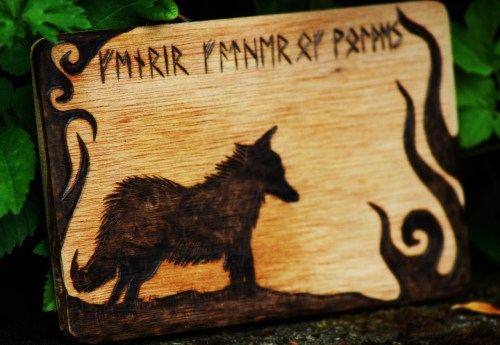 norsemanarts:  Fenrir - Wood Burning by Norseman Arts.  FENRIR FATHER OF WOLVES  http://www.etsy.com/shop/NorsemanArts?ref=si_shop