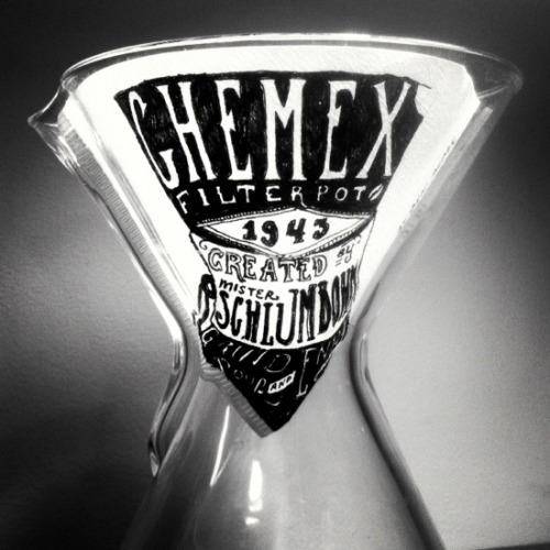 It seems to be worth noting that the filter used for this Chemex tribute was made by Hario for use in their v60's.   mattcaffeinated:  A Tribute to Mr. Schlumbohm, the inventor of the Chemex. Doodle by Ben Blake.