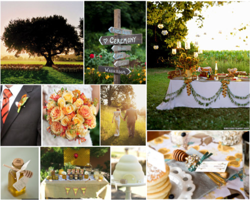 A Hundred Acre Wedding Deep in the Hundred Acre Woods a magical reception awaits the right couple. This Winnie-the-Pooh inspired wedding in complete with honey favors, tigger ties, and a general Hundred Acre feel. Great Ideas that Aren't on the Board The bridesmaids carrying bouquets of carrots, nicely arranged, of course, perhaps with flowers included Pooh's Korner for the younger guests to play, perhaps even with stuffed animals  For the invitations, the response cards should have a picture of Tigger next to yes response and Eeyore next to no