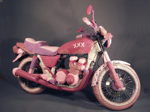 Knit Motorcycle Sculpture by Theresa Honeywell