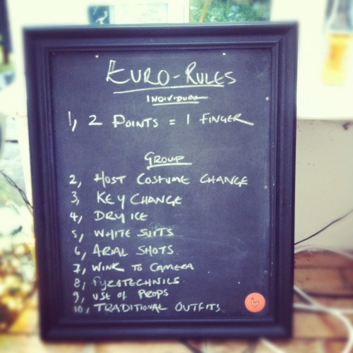 Eurovision Douze Pointe! The rules to the Eurovision drinking game.