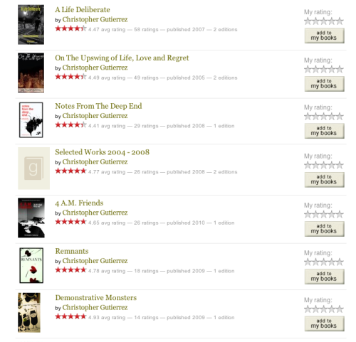 That moment when you're updating your GoodReads profile and the entire DeadxStop Publishing Co. repertoire pops up out of nowhere.  Righteous.