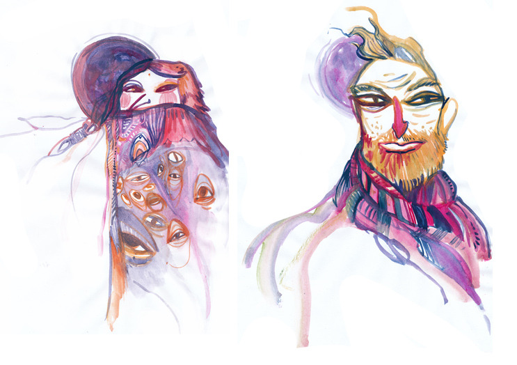 My friend Tara is Killin' it! taradrawstuff:  a couple of gouache sketches from drink and draw this week, no story, just for fun!