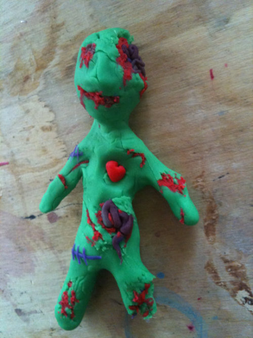 got some kids clay thing so I tried to make a zombie! x)