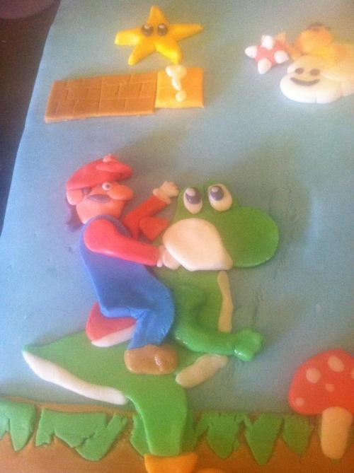 My son's birthday cake: Super Mario World! — My wife did it all by hand.