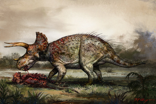 "paleoillustration:  ""Triceratops Lane"" by Cheung Chung Tat. Triceratops… with poisonous quills? eating meat?.  (…) new Triceratops material revealed its incredible secrets. (…) The result would be an incredibly bizarre-looking, intimidating beast that behaved more like a giant wild boar or an entelodont (a carnivorous pig-like creature) than the placid vegetarian of classic imagery. We simply will never look at Triceratops the same way now. Full article"