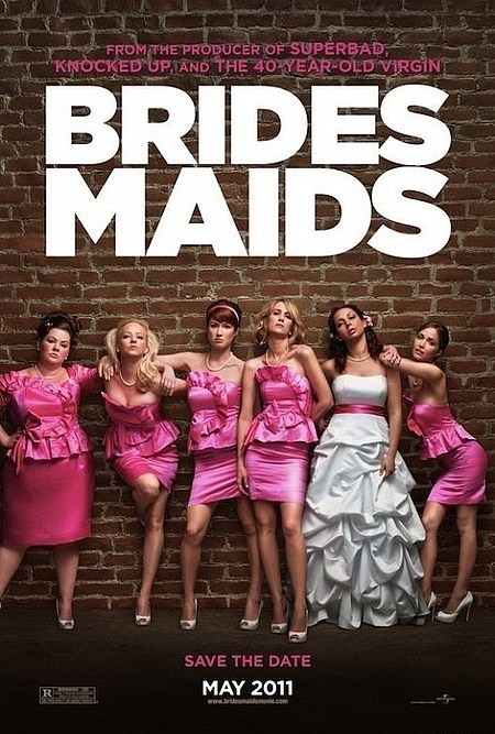 BRIDESMAIDS *** 2011, dir. Paul Feig, Blu-ray Sensitive writing and credible performances lift this well above other comedies of this type. Wiig and the cast as a whole are very strong. There are a few significant defects: 1) too many gross-out jokes, 2) the central relationship (between Wiig and Maya Rudolph) is too sketchy to bear the weight of all the drama that follows the inciting incident (Rudolph's engagement), and 3) it all goes on for far too long (130 minutes!). Nonetheless, there are a number of genuine laughs and Wiig's character is a fully-realized individual.