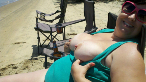 naughtymrandmrs:  Relaxing on our private beach today…