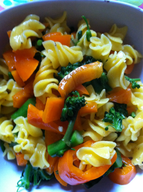 Pasta salad I an still eat!!! Quinoa pasta with broccolette and sweet twister peppers.