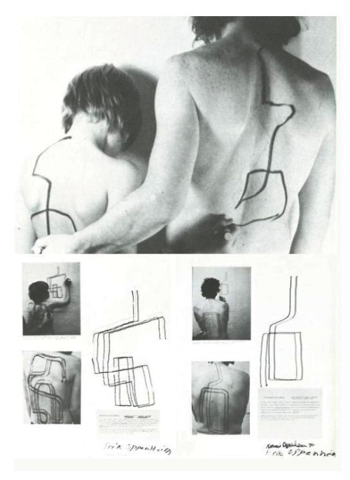 "crematorie:  Dennis and Erik Oppenheim, 1971  A Feed-back Situation ""I originate movement which Erik translates and returns to me. What I get in return is my movement fed through his sensory system."" 2-State Transfer Drawing Dennis to Erik Oppenheim ""As I run a marker along Erik's back he attempts to duplicate the movement on the wall. My activity stimulates a kinetic response from his sensory system. I am, therefore, drawing through him…Because Erik is my offspring and we share similar biological ingredients, his back (as surface) can be seen as an immature version of my own. In a sense, I make contact with a past state."" 2-State Transfer Drawing Erik to Dennis Oppenheim ""As Erik runs a marker along my back I attempt to duplicate the movement on the wall. His activity stimulates a kinetic response from my sensory system. He is, therefore, drawing through me…Because Erik is my offspring and we share similar biological ingredients, my back (as surface) can be seen as an mature version of his own. In a sense, he contacts a future state.""  From Dennis Oppenheim: Retrospective de l'oeuvre/works 1967-1977, Musee D'Art Contemporain, Montreal, 1978 (via)"