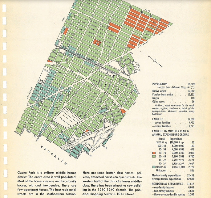 CUNY's Center for Urban Research has made a 1943 New York City Market Analysis, containing photographs, descriptions, and demographic data for each of the city's neighborhoods, available online. Their overview of the data notes some interesting points; for instance, the population of many of the densest areas has actually fallen since 1943: