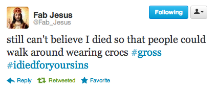 Amen popculturebrain:  New favorite Twitter account: @Fab_Jesus