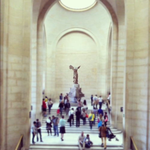 Winged Victory. Photo of people taking photos.