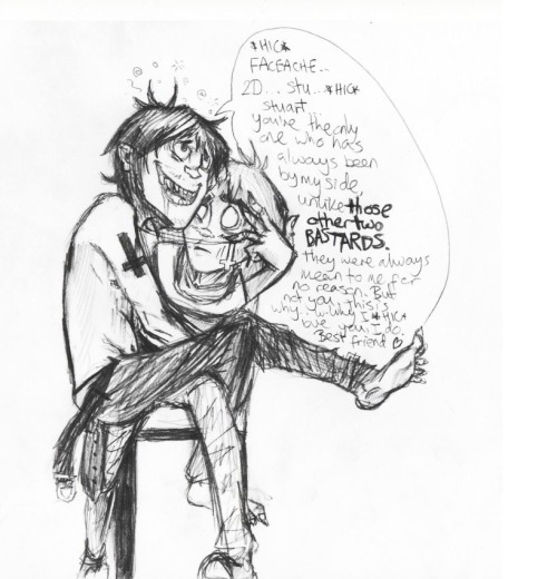 gorillazfanart:  naffpronk:  Murdoc's had too much rum and lost his mind So this happened  Further mental disintegration by *NaffPronk