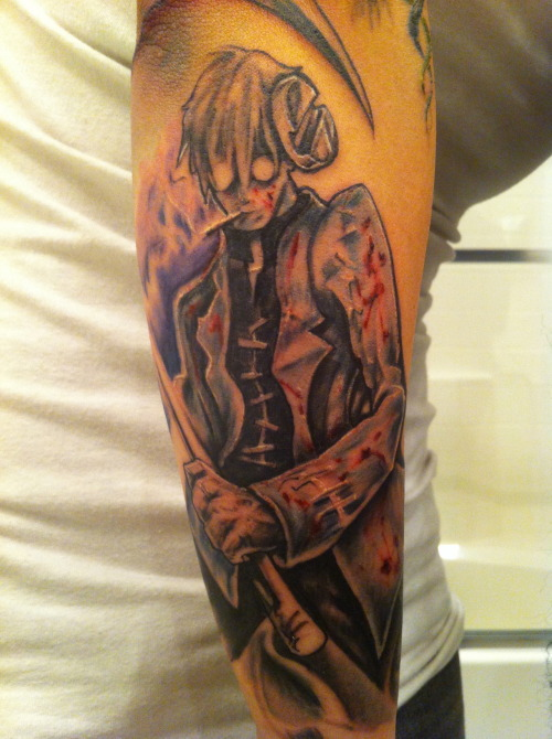 This is the start of my anime themed sleeve, this guys name is Dr. Stein. He is based on the central characters from Mary Shelley's novel Frankenstein. If you have watched Soul Eater before then you know exactly what I am talking about, I still have a bit more work to do on him but I am all around in love with it. done by, Michael Acea Blackstone.