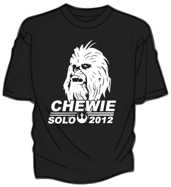 "dftbarecords:  Let the wookie win! Back in 2009, John Green made a joke about how great Chewbacca would be as a president in one of his videos. As a consequence, we released a super limited quantity of these ""Chewie for President"" shirts. Now that 2012 is here and the U.S. election season is upon us, we've received countless requests to bring it back- so we did! And as a bonus, when you buy the t-shirt you'll get a mp3 download of Hank Green's ""Chewie for Prez"" song as well as a super foxy desktop wallpaper."