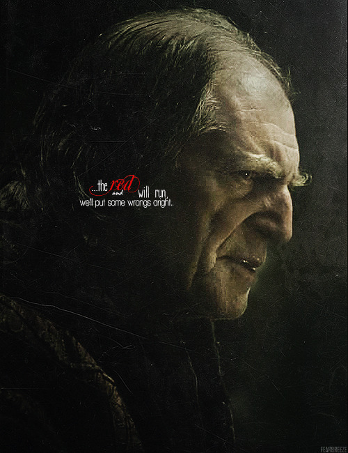 "fearbreeze:  Lord Walder took a cup of red himself, and raised it high with a spotted hand. ""My guests,"" he said. ""My honored guests. Be welcome beneath my roof, and at my table.""              — A Storm of Swords"