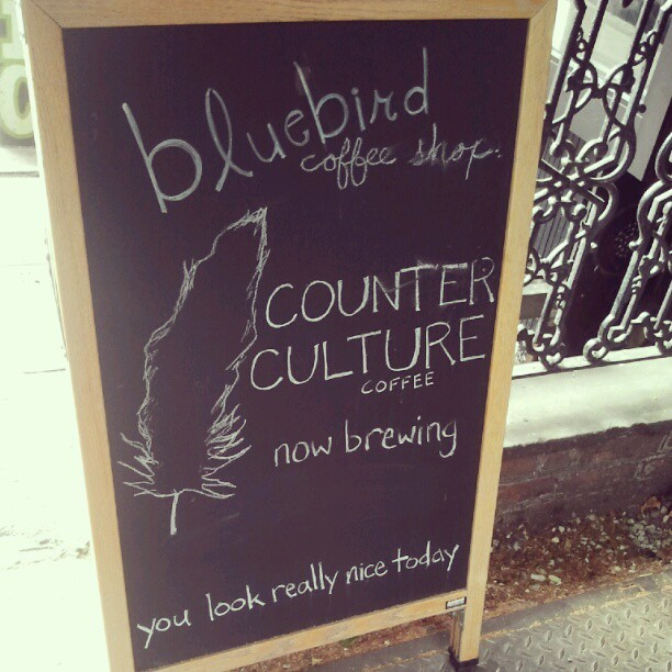 New obsession: finding quaint little coffee shops.  Went to Bluebird yesterday with a girlfriend, on her recommendation. I completely forgot how much I used to enjoy discovering a new coffee shop. Starbucks—which, if you know me at all, you'll know that it's practically my religion—has been my go-to for whenever I need that pick-me-up. Usually crowded and bustling with people, with baristas efficiently dishing out drinks, it's an environment and pace I've long since become accustomed to. A quick order for a frapuccino to go and boom; you're good to go. For someone like me, who's the type that constantly hurries from point A to point B, it's perfect.  And then there's Bluebird. Bluebird, which reminded me exactly what the perks of going to a small, personally owned coffee shop is. With the windows spread wide open to streets, paintings by some obscure abstract artist hanging on the wall, brick walls that reminded me of warm fireplaces, delicate little stoops and tables that are just shy of being clustered, French music playing faintly in the background, and the (only) barista leisurely reading the paper as his customers enjoyed themselves in his shop…. It felt like the sort of place I'd love to return to with a novel, curl up by the benches with a hot cup of coffee and just—relax. It reminded me that life isn't always about getting to the next destination. Sometimes, it's okay to slow down, take a deep breath, and be content with where you are at this very moment.