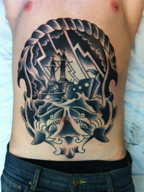 franzstefanik:  Just a lil stomach tattoo start on my pal Johl . Check his band Baptized In Blood…Rippin