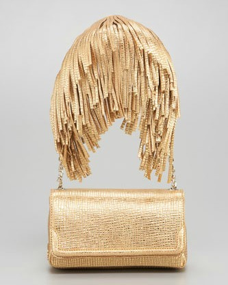 What IS this? I mean it, why is there golden fringe hanging from this bag? Is it supposed to make it look like you're wearing a single epaulette? That's not good. Not a good look. Christian Louboutin Artemis Gaia Fringe Shoulder Bag $1,195