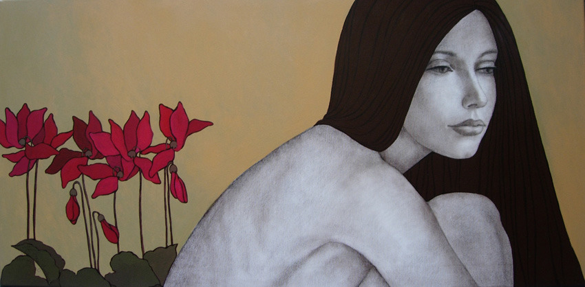 LONELY100 x 50 cmacrylic on canvas, sepia pencil, acrylic pen2007