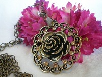 French Robin Designs.  Antique Gold Rose Medallion Necklace.  Etsy and Artfire.